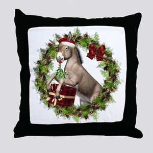 Donkey Santa Hat Inside Wreath Throw Pillow